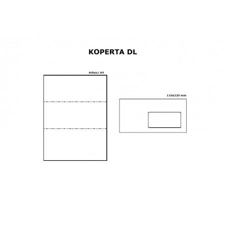 Koperta DL HK z oknem prawym 45/90 biała - opak. 10szt
